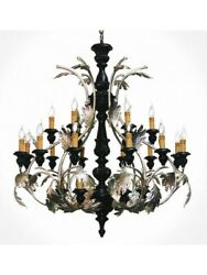 Chandelier Classic Wooden Black And Leaf Silver Tp 190-LA-24-27