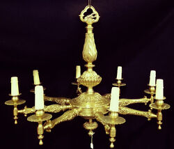Antique French Solid Bronze Chandelier 8 Lights