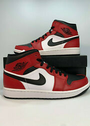 Nike Air Jordan 1 Retro Mid Chicago Red Mens Size Black Red White 554724-069  $129.99