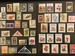 EXOTIC FLOWERS amp; PLANTS ON STAMPS TOPIC Stamp Collection FREE SHIPPING LOT 1 $10.00