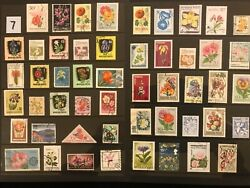 EXOTIC FLOWERS amp; PLANTS ON STAMPS TOPIC Stamp Collection FREE SHIPPING LOT 7 $10.00