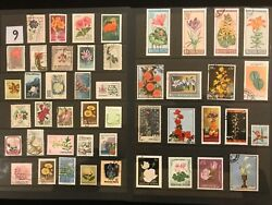 EXOTIC FLOWERS amp; PLANTS ON STAMPS TOPIC Stamp Collection FREE SHIPPING LOT 9 $10.00