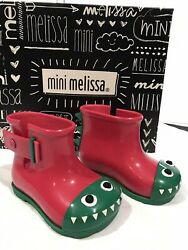 NEW Mini Melissa Mini Sugar Rain Fabula Pink Green Rain Boots Toddler 5 $13.88