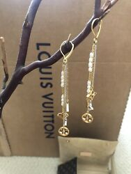 LOUIS VUITTON 18K WHITE & YELLOW GOLD CHAIN LAYERED CHANDELIER EARRINGS - Auth