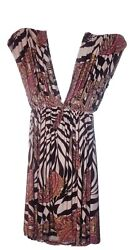 Woman Bathing Suit Cover Up Dress Multi Colored patterned Size Med $21.00