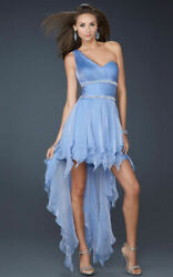 La Femme One Shoulder High Low Cocktail Chiffon Dress Sz 4 PERIWINKLE $115.20