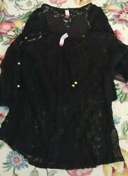 NWT Lot of 2 NOBO Junior#x27;s L Black Lace Boho Tops $18.00