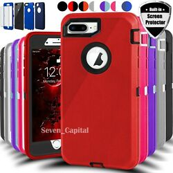 For iPhone 6 6s 7 8 Plus SE 2 Defender Shockproof Case Cover w Screen Protector $7.99