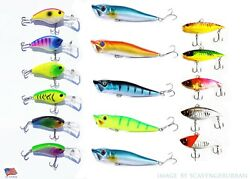 LOT OF 16 FISHING LURES TOP WATER POPPER VIB BAIT HARD SWIMBAIT WOBBLER BASS $18.99