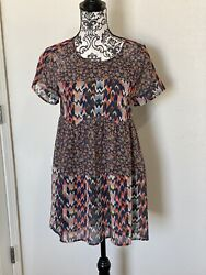 ANTHROPOLOGIE Wolven Multi Color TUNIC TOP DRESS BLOUSE BOHO Size XS $12.00