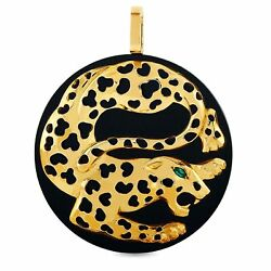 Fred of Paris Vintage 18K Yellow Gold Emerald Panther Pendant