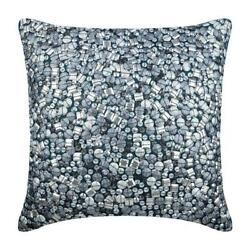 Pillow Cover Luxury 24x24 inch Teal Blue Silk Bling Antique Silver Treasure $55.50