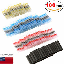 100x Solder Sleeve Heat Shrink Tubing Waterproof AWG 10 26 Wire Splice Connector $8.95
