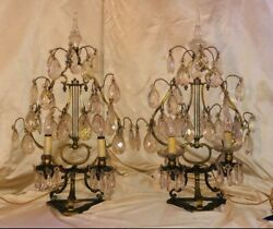 Antique Pair Crystal amp; Bronze Table Lamps . Girondelles 19th Century Louis XVI $3200.00