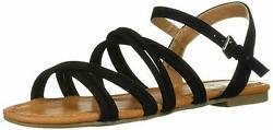 Report Womens Gal Strappy Open Toe Sandal US 6.5 Black Ankle Strap Flat NEW $18.38