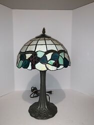 Tiffany Style Vintage Stained Shade on Metal Base Lamp $54.99