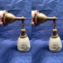 Antique Brass Sconces Pair Rewired Antique Shades 80D $750.00
