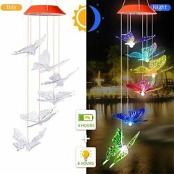 LED Solar Wind Chime Butterfly Colorful Waterproof for Home Party Garden Decor $12.90