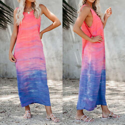 ❤️ Women Summer Casual Long Maxi Dress Ladies Print Beach Sleeveless Sun Dresses $7.79