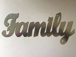 FAMILY Metal Wall Art Word Quote Sign Decor Steel rustic home craft supplies $12.95