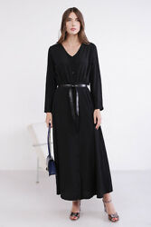 Coolples Moda Women#x27;s Dress with Buttons and Belt Black Color Maxi Sleeve $58.10