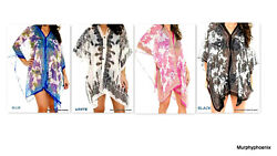 Womens Chiffon Beach Cover up Poncho Shawl NWT One Size Fits Most Choose Color $8.99