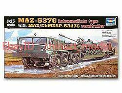 Trumpeter 1 35 00211 MAZ 537G Mid with Semi Trailer $83.59