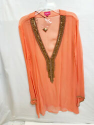 New Women#x27;s Coral Salmon Long Sheer Beach Swimwear Swimsuit Bathing Cover Up $60.00