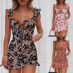 ❤️ Womens Boho Floral Print Mini Dress Ladies Summer Beach Party Bodycon Dresses $9.99