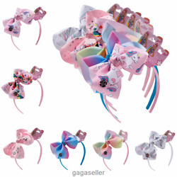 6#x27;#x27; Girls Unicorn Fabric Hair Band Headband Hair Bow Kid Bows Hair Accessories $2.80