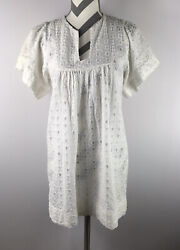 Alicia Bell Fine Garments Made By Bell White Eyelet Lace Cover Up Dress Size 2 $39.95