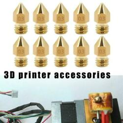 10X For 3D Printer For Creality Ender Parts Gold Nozzle Brass Kit 0.3 0.4 0.5mm $2.98