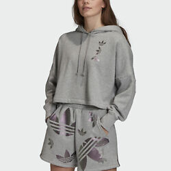 adidas Originals Large Logo Cropped Hoodie Women's $25.99