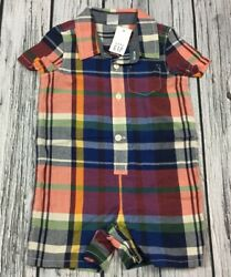 Baby Gap Boys 12 18 Months Plaid Shorts Cotton Romper. Nwt $14.99
