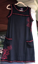 Runway Coline Party Tank Dress Women Sz  L Pockets Textile Trim Floral Black Red