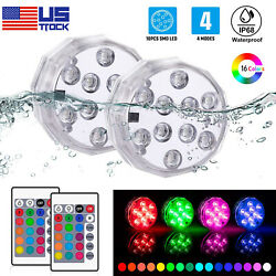10 LED Submersible Light RGB Remote Underwater Swimming Pool Wedding Party Vase $27.98