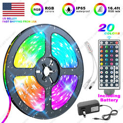 5M RGB 5050 Waterproof LED Strip light SMD 44 Key US Remote 12V Power Full Kit $11.99