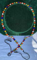 """True Vintage 60's Beaded """"Flower Power"""" Choker Necklace With Braided Ties $14.95"""