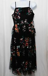 Lulus Embroidered Sleeveless Dress M Formal Party Black Floral Sheer Layer $34.95