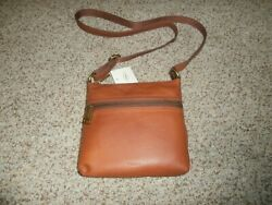NWT $98 FOSSIL Voyager Small Crossbody Brown Pebbled Leather