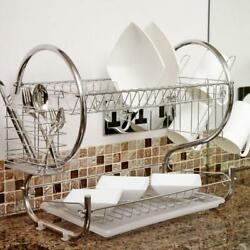 Large Capacity 2 Tier Dish Drainer Drying Rack Kitchen Storage Stainless Steel $25.99