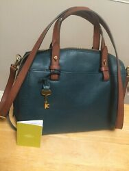 Fossil leather Rachel satchelpurse in beautiful teal With outside pockets EUC