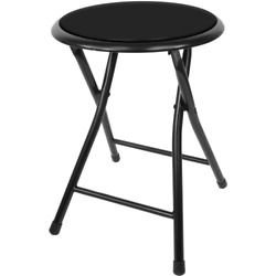 Folding Stool Round Black 18 Inch Collapsible Padded Seat 300 Pound Capacity $21.41