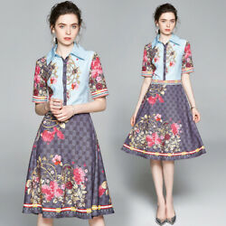 New Summer Runway Floral Print Collar Short Sleeve Women Casual Party Midi Dress