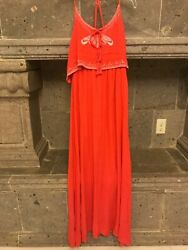 NWT Japna Embroidered Coral Maxi Dress