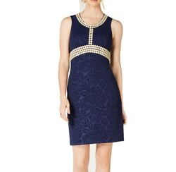 Pappagallo Womens Dress Blue Gold Size 8 Sheath Embroidered Floral Lace $89 180 $23.99