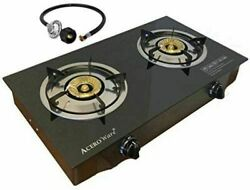 Double 2 Burner Propane Gas Stove-Table Cook Top-Portable Camp Stove-Glass STYLE $77.99