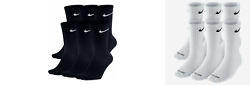 Nike Dri-Fit Cotton Crew Socks 1 3 OR 6 PAIRS WHITE OR BLACK