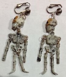 Vintage Plastic Skeleton Bone Chandelier Clip Earrings Articulated Jointed $7.95