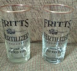Vtg Ad Item: FRITTS Fertilizer Inc Gold Rim Weighted Drinking Glasses Set of 2 $19.75